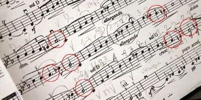 Exemplo do ponto de aumento na partitura